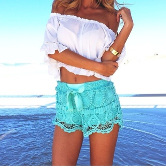 crochet shorts turquoise white crop top top