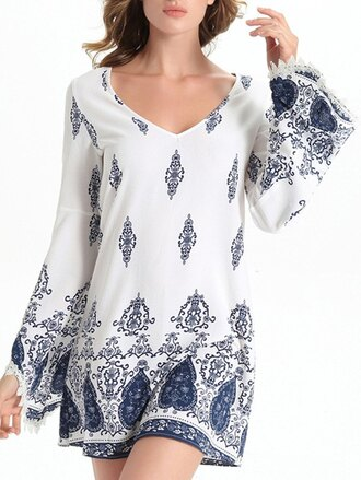 dress white boho fashion style summer long sleeves festival gamiss
