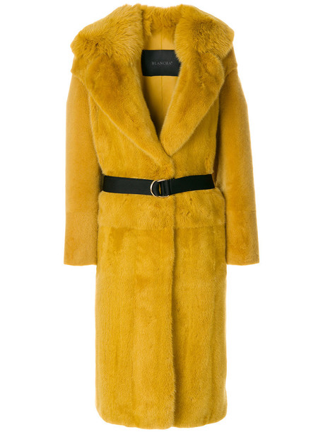 BLANCHA coat fur coat metal fur women leather cotton yellow orange