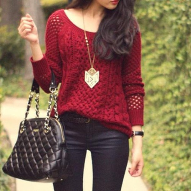 Sweater: pullover, wool, red, burgundy, warm - Wheretoget