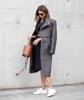 shoes coat grey coat dress black dress bag brown bag sneakers white sneakers sunglasses
