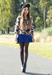 chloe ting,sweater,bag,skirt,hat,shoes