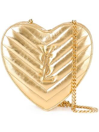 heart love bag chain bag metallic