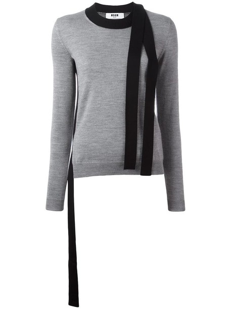 MSGM pullover women slit wool grey sweater