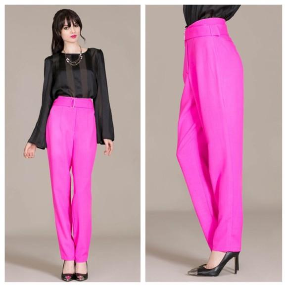pants high waisted pants fashion australias next top model bubblegum pink