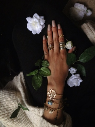 jewels ring jewelry gold ring gold mid finger rings lotus flower rhinestones bracelets gold