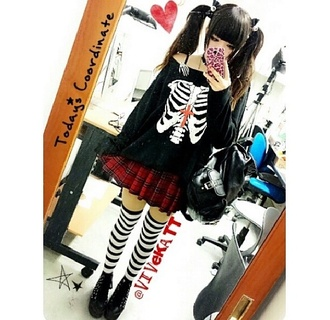 sweater long sleeves shirt black bones ribs goth gothic lolita skeleton socks skirt shoes