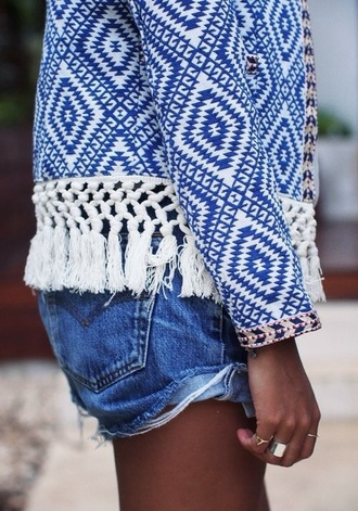 jacket brand style white casual cardigan blue pattern