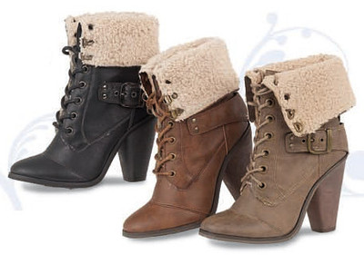 High Heel Lace Up Combat Military Boots with Fur Cuff New | eBay