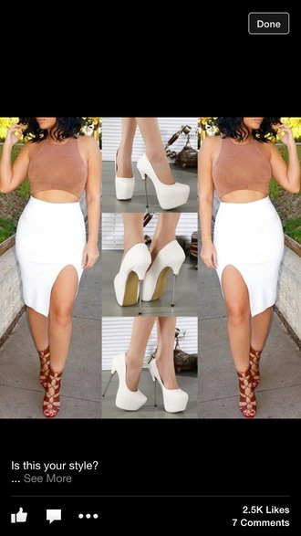 skirt white shirt two-piece
