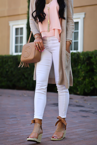 shoes tumblr sandals wedges wedge sandals denim jeans white jeans cardigan top pink top bag brown bag pants