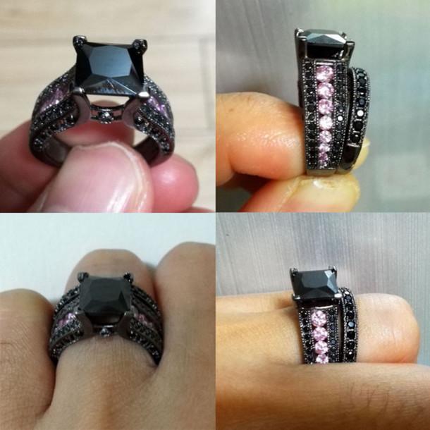 jewels pink sapphire ring set engagement ring bridal ring set wedding ring set black gold ring - Pink And Black Wedding Ring Set