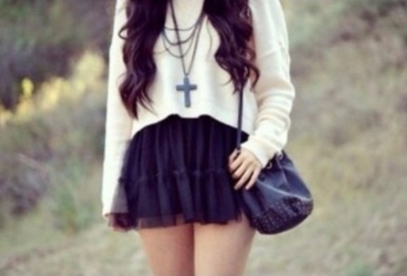 cross sweater skirt necklace