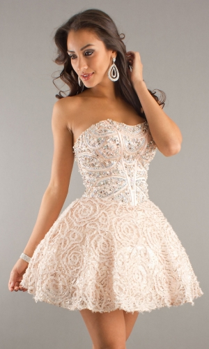 a4c68100e2b Ivory Short Mini Beading Sleeveless Cocktail Dress For Sweet 16 ...