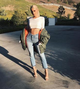 jacket bomber jacket sandals crop tops top kylie jenner instagram kardashians jeans
