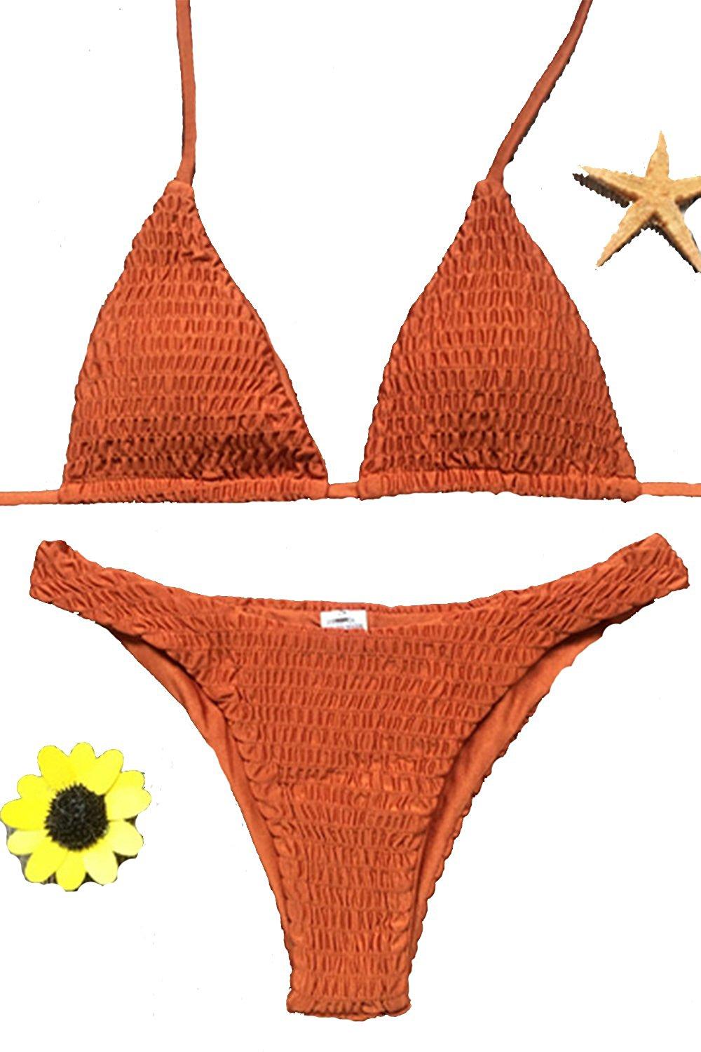 Amazon.com: Kissprom Sexy Frill Halter 2 Pcs Swimwear For Women Shirred Ruched Tie Up Bikini For Girls: Clothing