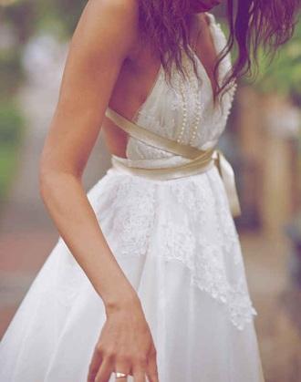 dress white lace v neck backless blouse