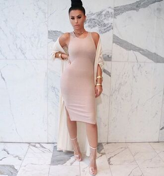 shoes spring coat transparent boots transparent transparent shoes open toes peep toe boots dress pink dress bodycon dress midi dress sexy dress coat white coat trench coat bracelets clubwear club dress clear boots clear