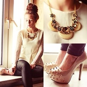 shirt,white,lace,jewels,pumps,shoes,necklace,high heels,studs,studded shoes,leather pants,blouse,white lace skirt