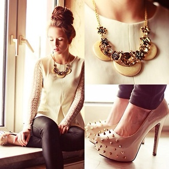 shirt white lace jewels pumps shoes necklace high heels studs studded shoes leather pants blouse white lace skirt