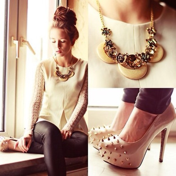 pumps shirt white lace jewels shoes high heels necklace studs studded shoes leather trousers blouse white lace skirt