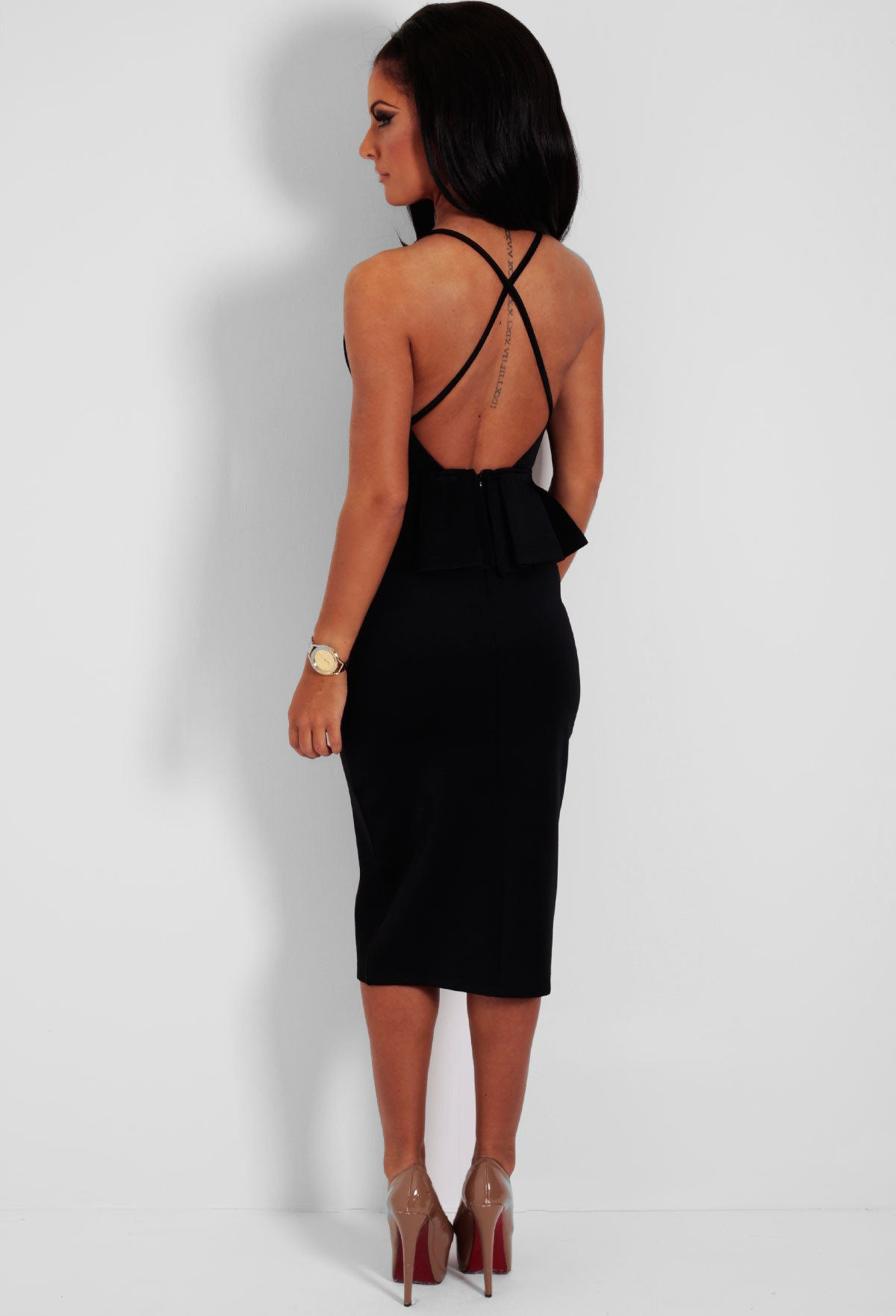 Black Backless Peplum Halter Midi Dress | Pink Boutique