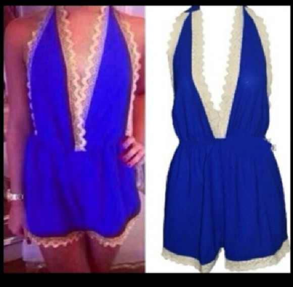 jumpsuit dress playsuit summer blue lace