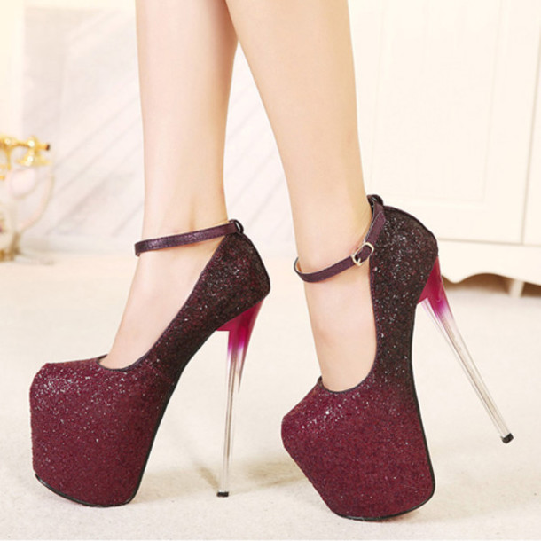 6b1a3d48093 shoes cheap fashion round closed toe stiletto super high heel red pu ankle  strap pumps showy