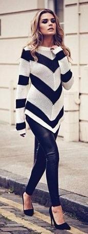 sweater,chevron,pants,leather
