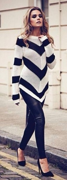 sweater chevron pants leather shirt top clothes black and white knitted cardigan winter sweater knitted sweater