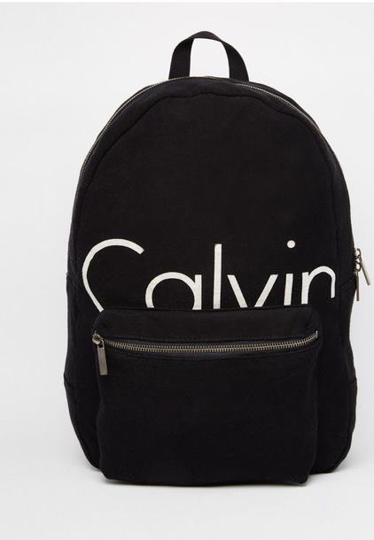 foto de bag, calvin klein, backpack, school bag, black, white, zip ...