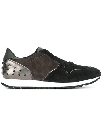studded women sneakers leather suede black shoes