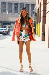 shorts,two-piece,summer,jacket,orange,shoes