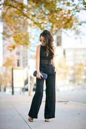 wendy's lookbook,blogger,jumpsuit,bag,sunglasses,jewels,office outfits,classy,belt