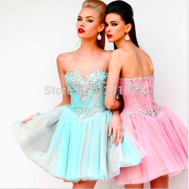Aliexpress.com : Buy Free Shipping 2014 Cream Color Sweetheart Crystal Beading Multi Color Ball Gown Short Party Dress from Reliable gown dress suppliers on Aojia Top Evening Dress