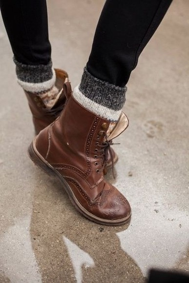 shoes boots brogues brown lace up cute combat boots brown boot Winter socks brown boots brown leather boots leather vintage clothes autumn