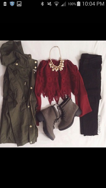 shirt red lace shirt jacket jeans necklace shoes