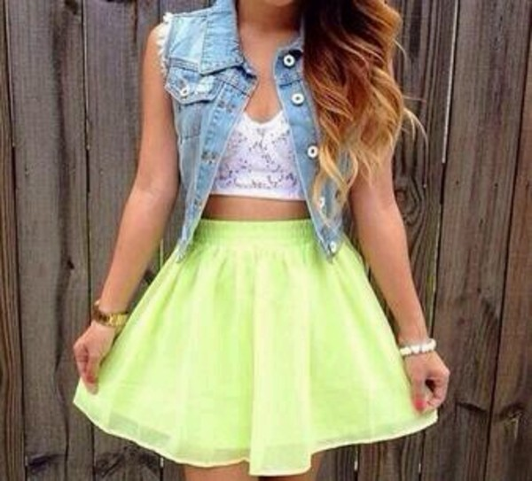 skirt green neon flowy blouse denim crop tops white neon yellow crop top yellow green skater dress sleeveless jacket denim jacket top