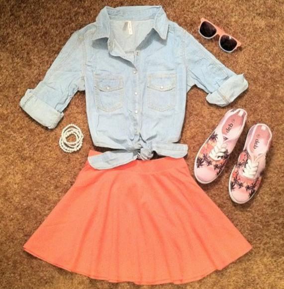 skirt orange skirt coral skirt shoes palm tree print blouse