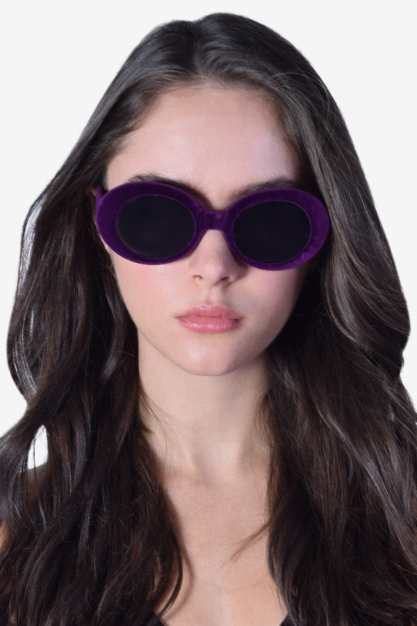 sunglasses velvet round sunglasses vintage purple