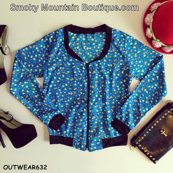 jacket windbreaker blue blue jacket blue floral blue floral jacket