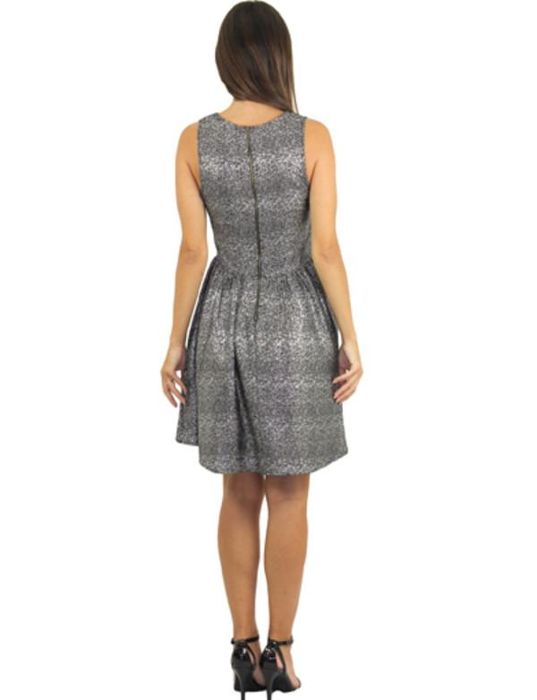 sleeveless short silver dress