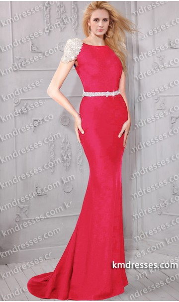 magnificent beaded form-fitting high neck mermaid gown