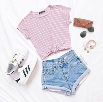 shirt summer denim shorts stripes pink adidas superstars t-shirt white striped top