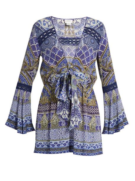 Camilla embellished silk blue romper