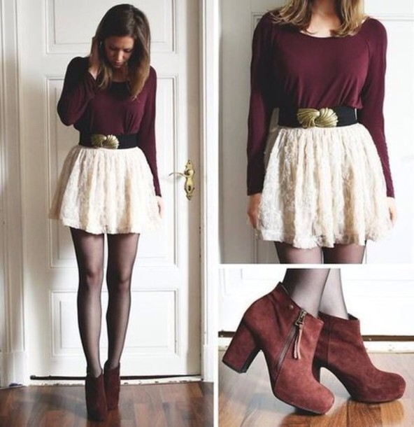 skirt burgundy blouse shirt leggings ankle boots