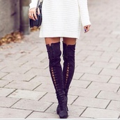 boots,over the knee,lace up,lace up boots,fall outfits,winter boots,thigh highs