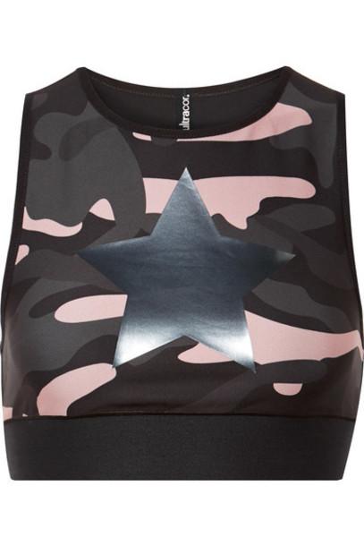 bra sports bra camouflage print black underwear