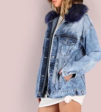 coat blue girly girl girly wishlist denim jacket denim fur fur coat