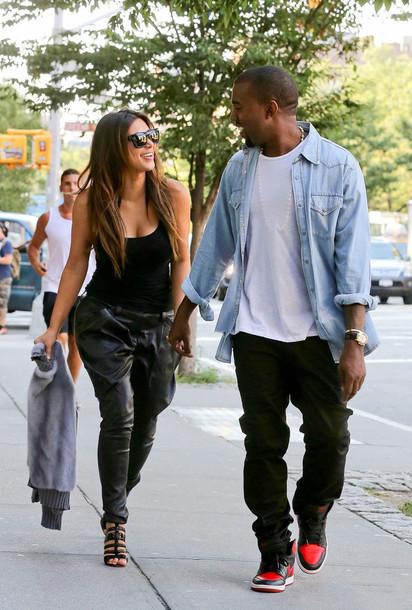 Pants Kim Kardashian Leather Baggy Black Wheretoget